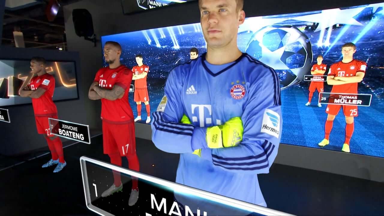 שחקני כדורגל במשחק אפליקציית מציאות רבודה בעולם הבידור