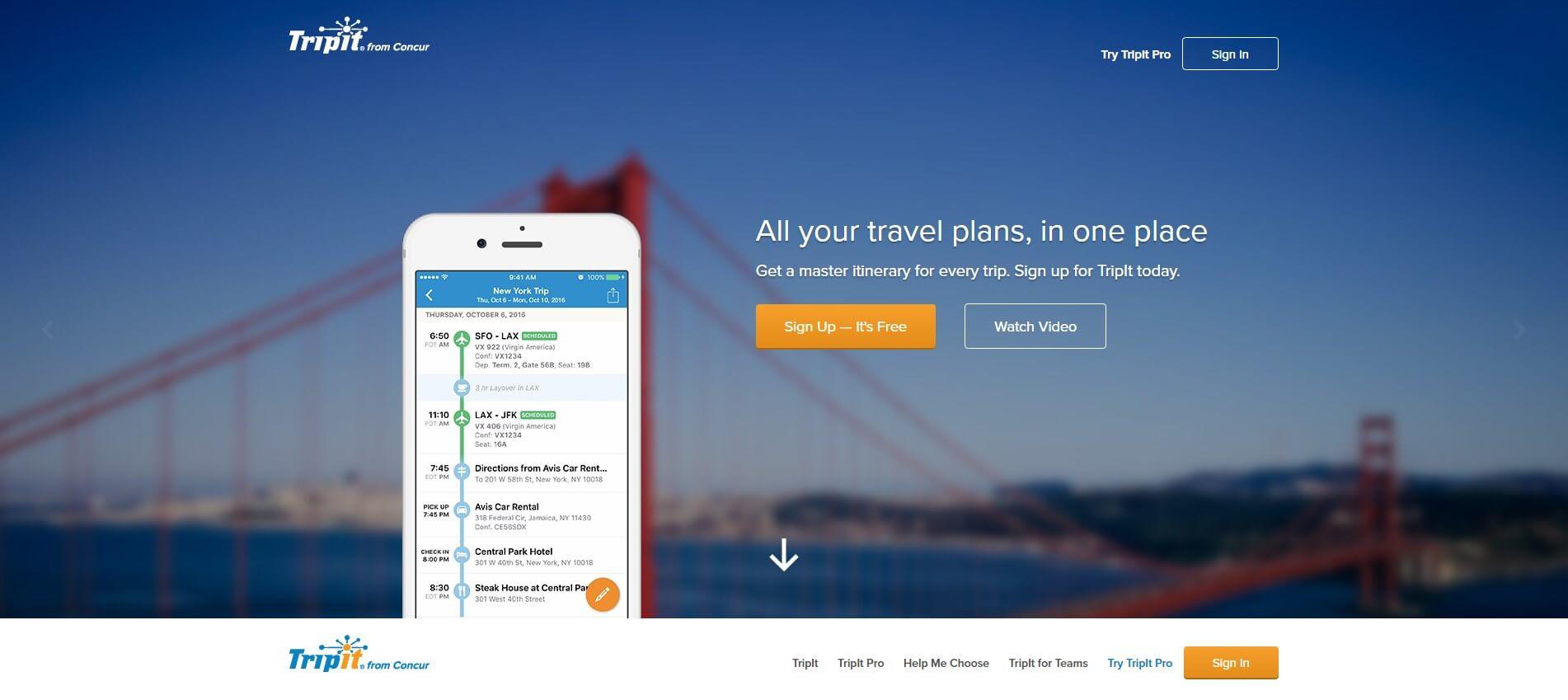 אפליקציות לעסקים tripit - אפליקציה מומלצת